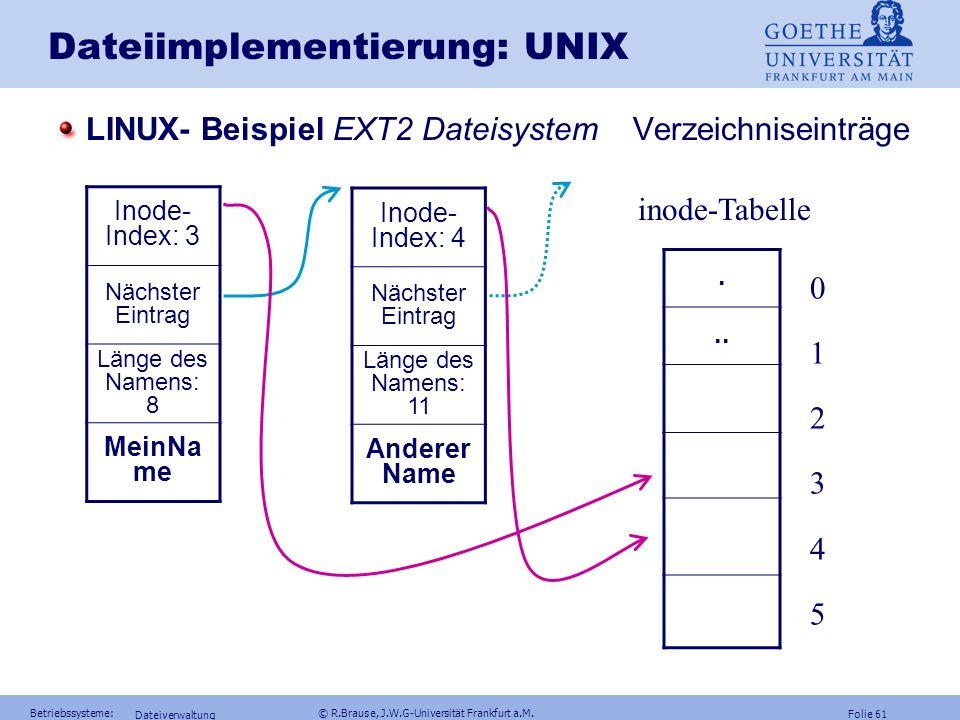 Folie 60 Betriebssysteme: © R.Brause, J.W.G-Universität Frankfurt a.M. Dateiverwaltung Dateiimplementierung: UNIX LINUX- Beispiel EXT2 Dateisystem Gru