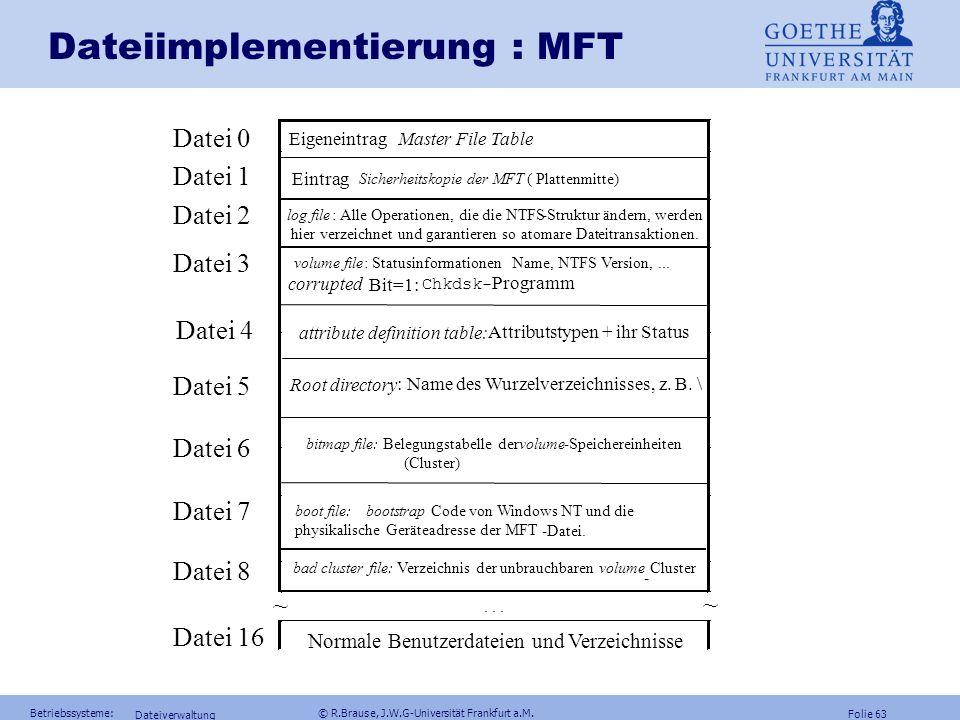 Folie 62 Betriebssysteme: © R.Brause, J.W.G-Universität Frankfurt a.M. Dateiverwaltung Dateiimplementierung: Windows NTKonzept Volumes (log. Massenspe