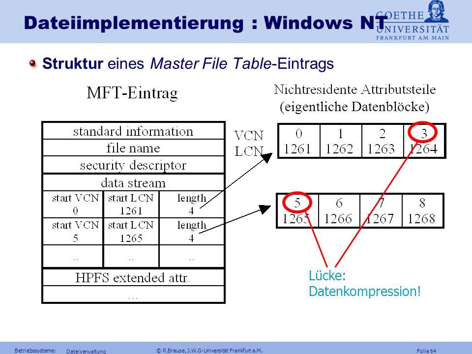 Folie 63 Betriebssysteme: © R.Brause, J.W.G-Universität Frankfurt a.M. Dateiverwaltung Chkdsk- Programm Dateiimplementierung : MFT ~ ~ Datei 0 Eigenei