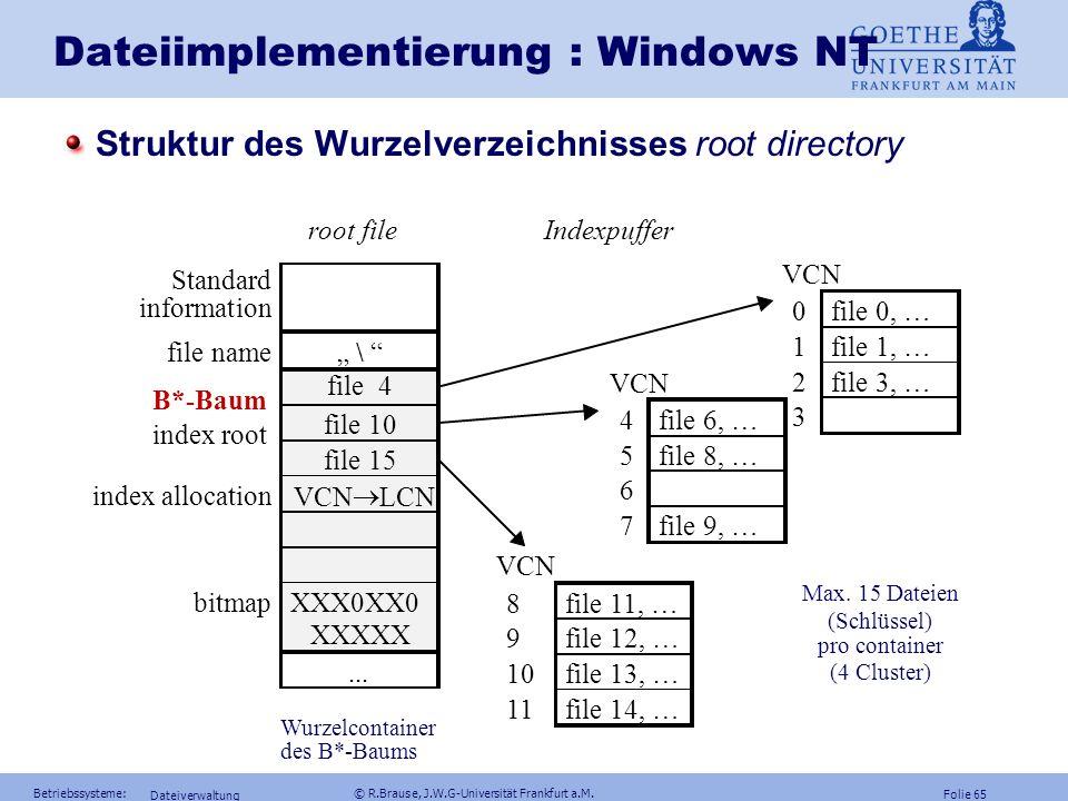 Folie 64 Betriebssysteme: © R.Brause, J.W.G-Universität Frankfurt a.M. Dateiverwaltung Dateiimplementierung : Windows NT Struktur eines Master File Ta