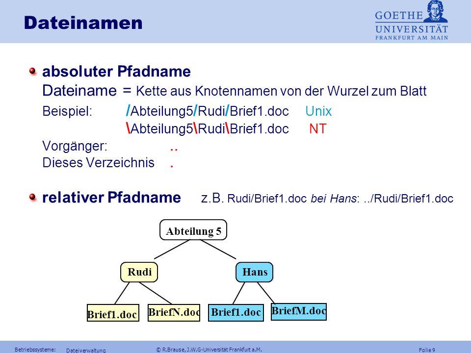 Folie 8 Betriebssysteme: © R.Brause, J.W.G-Universität Frankfurt a.M. Dateiverwaltung Dateinamen: Eindeutigkeit Problem: eineindeutige Abbildung lange