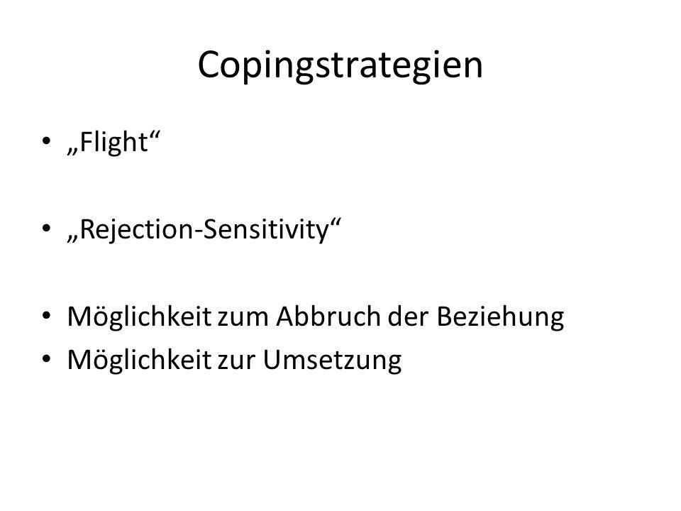 Copingstrategien Flight Rejection-Sensitivity Möglichkeit zum Abbruch der Beziehung Möglichkeit zur Umsetzung