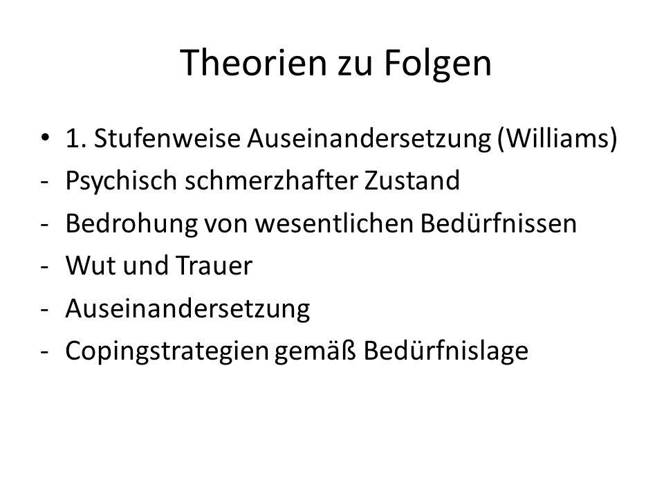 Theorien zu Folgen 1. Stufenweise Auseinandersetzung (Williams) -Psychisch schmerzhafter Zustand -Bedrohung von wesentlichen Bedürfnissen -Wut und Tra