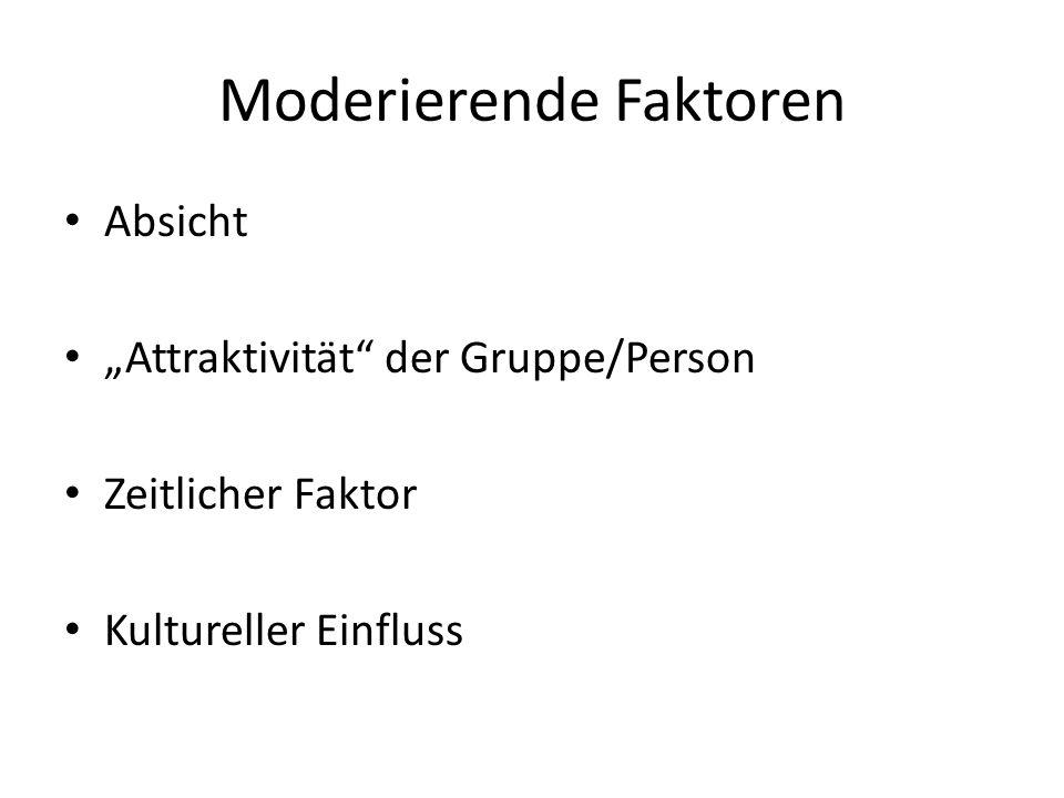 Moderierende Faktoren Absicht Attraktivität der Gruppe/Person Zeitlicher Faktor Kultureller Einfluss