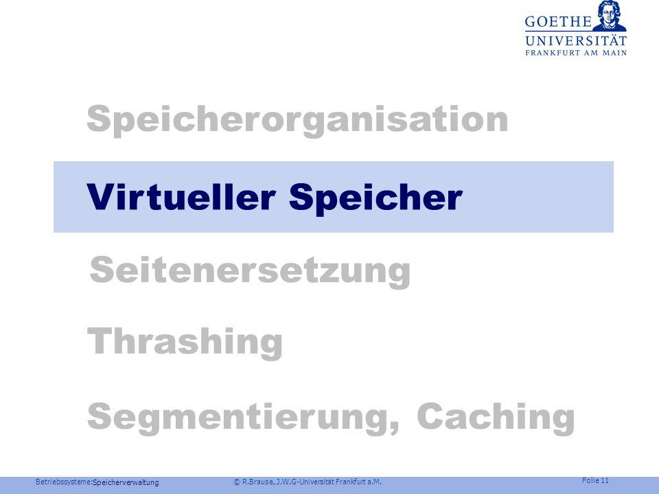 Betriebssysteme: © R.Brause, J.W.G-Universität Frankfurt a.M. Folie 10 Speicherverwaltung Speicherorganisation Fragmentierung und Verschnitt Interner