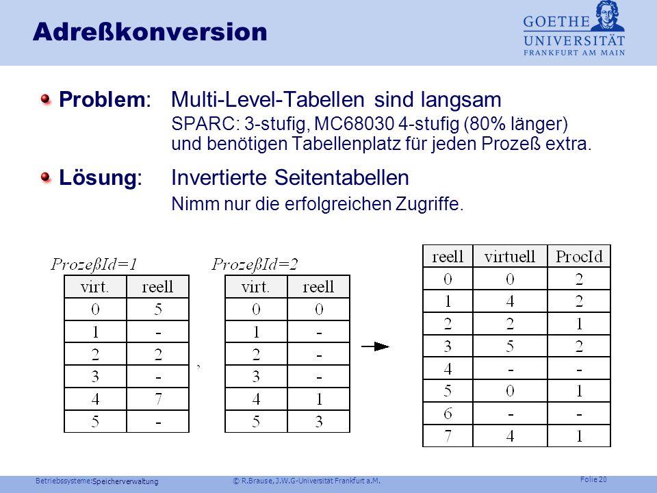 Betriebssysteme: © R.Brause, J.W.G-Universität Frankfurt a.M. Folie 19 Speicherverwaltung Adreßkonversion: 4-Level-Tabellen MC 68030 Motorola Problem: