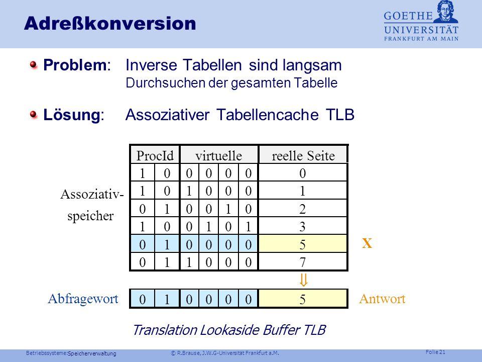Betriebssysteme: © R.Brause, J.W.G-Universität Frankfurt a.M. Folie 20 Speicherverwaltung Adreßkonversion Problem: Multi-Level-Tabellen sind langsam S