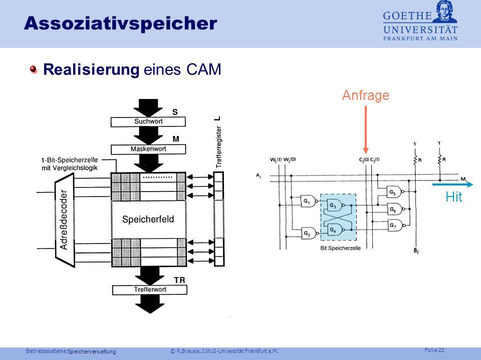 Betriebssysteme: © R.Brause, J.W.G-Universität Frankfurt a.M. Folie 21 Speicherverwaltung Adreßkonversion Problem: Inverse Tabellen sind langsam Durch