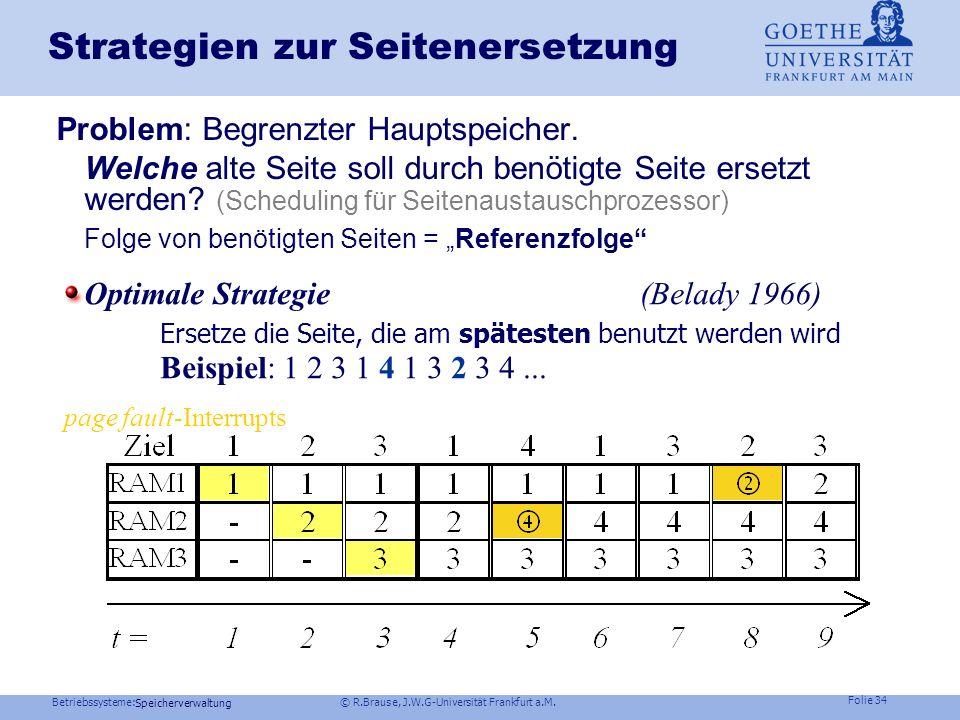 Betriebssysteme: © R.Brause, J.W.G-Universität Frankfurt a.M. Folie 33 Speicherverwaltung Seitenersetzung page- fault- Aktionen des Betriebssystem Aus