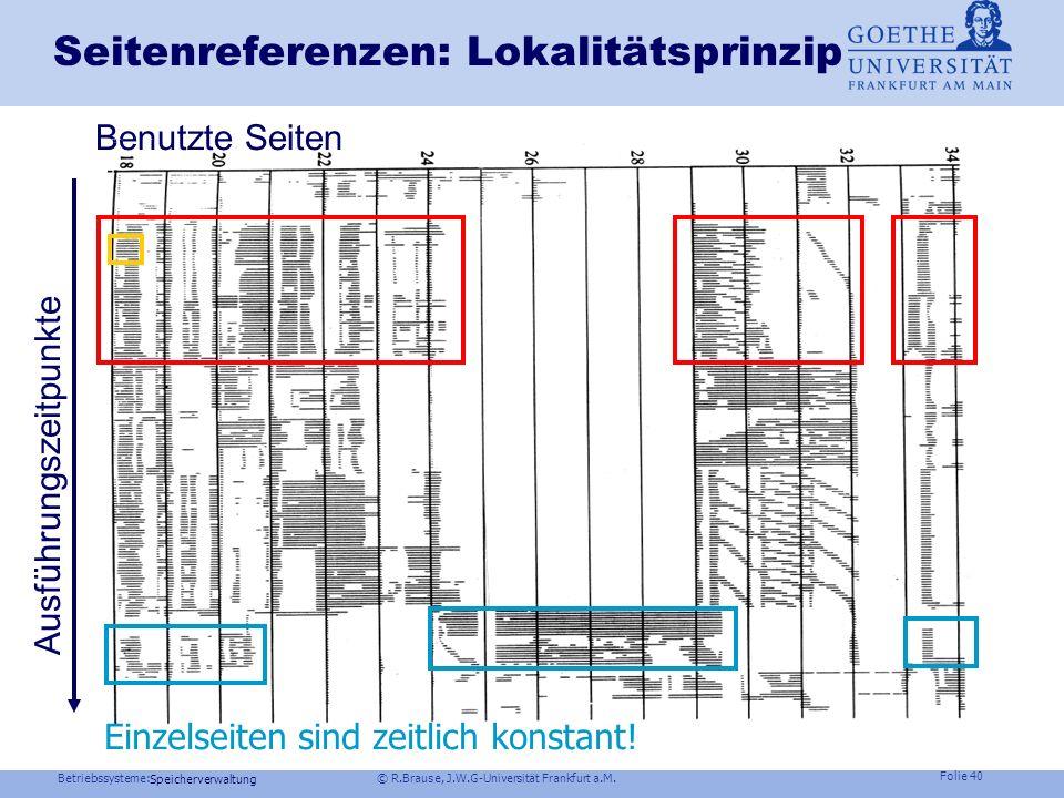 Betriebssysteme: © R.Brause, J.W.G-Universität Frankfurt a.M. Folie 39 Speicherverwaltung Arbeitsmenge (working set) eines Prozesses Minimale Seitenza