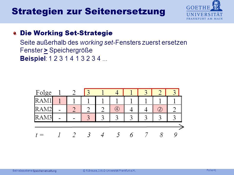 Betriebssysteme: © R.Brause, J.W.G-Universität Frankfurt a.M. Folie 40 Speicherverwaltung Seitenreferenzen: Lokalitätsprinzip Benutzte Seiten Ausführu