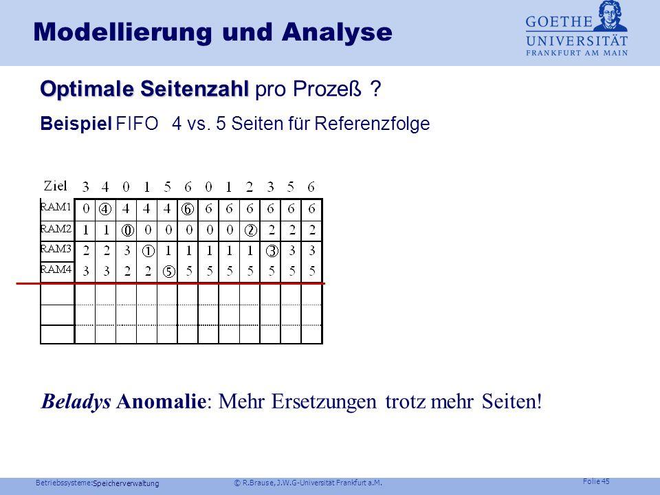 Betriebssysteme: © R.Brause, J.W.G-Universität Frankfurt a.M. Folie 44 Speicherverwaltung Modellierung und Analyse Weitere Kriterien Weitere Kriterien