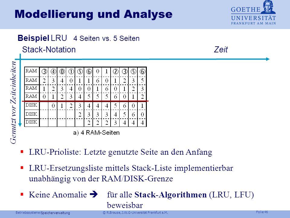 Betriebssysteme: © R.Brause, J.W.G-Universität Frankfurt a.M. Folie 45 Speicherverwaltung Modellierung und Analyse Optimale Seitenzahl Optimale Seiten