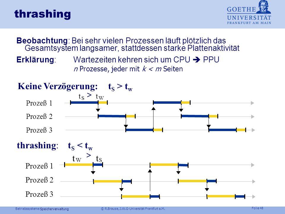Betriebssysteme: © R.Brause, J.W.G-Universität Frankfurt a.M. Folie 47 Speicherverwaltung Thrashing Speicherorganisation Virtueller Speicher Seiteners