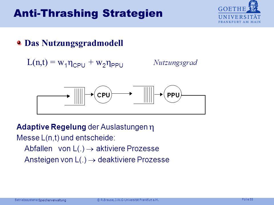 Betriebssysteme: © R.Brause, J.W.G-Universität Frankfurt a.M. Folie 54 Speicherverwaltung Anti-Thrashing Strategien Speicherangebot Speicherangebot mu