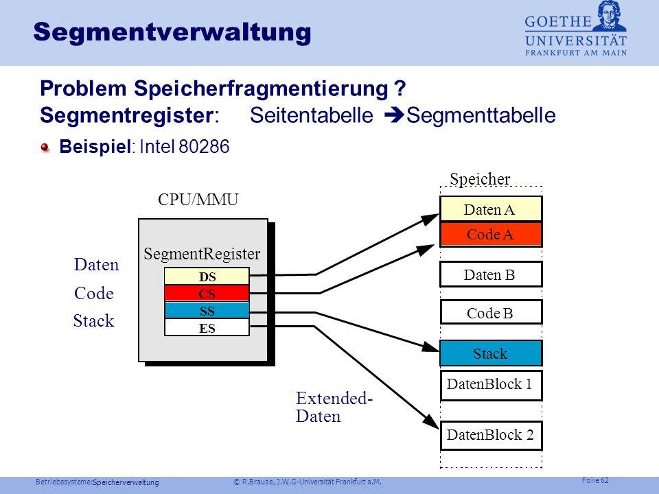 Betriebssysteme: © R.Brause, J.W.G-Universität Frankfurt a.M. Folie 61 Speicherverwaltung Thrashing Speicherorganisation Virtueller Speicher Seiteners