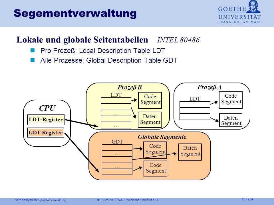 Betriebssysteme: © R.Brause, J.W.G-Universität Frankfurt a.M. Folie 63 Speicherverwaltung Segmentierung Segmente Segmente statt globalem linearem Adre