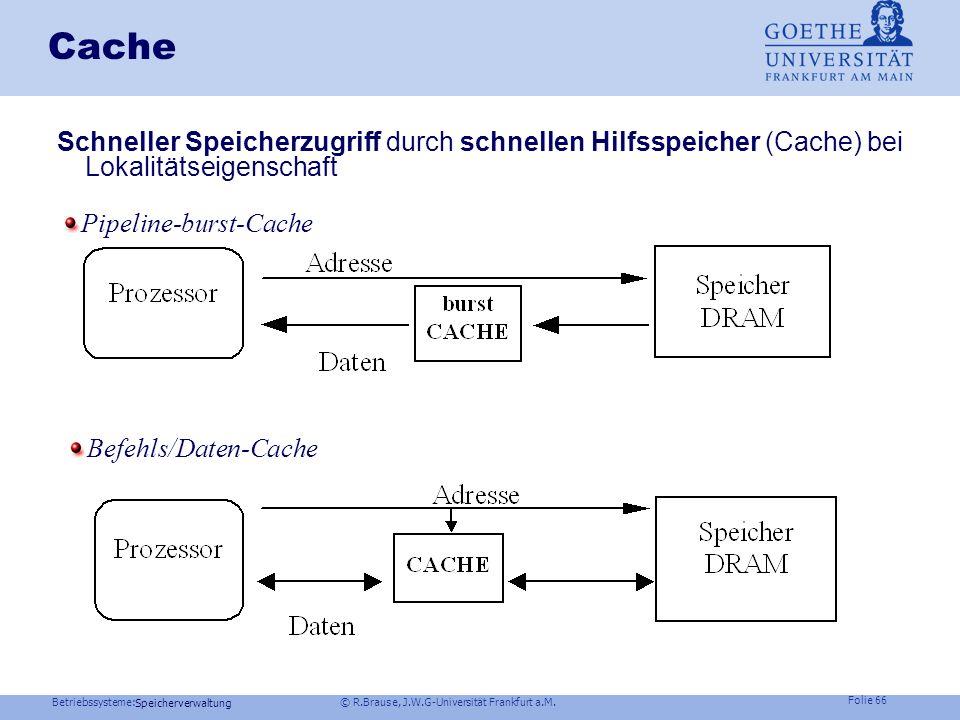 Betriebssysteme: © R.Brause, J.W.G-Universität Frankfurt a.M. Folie 65 Speicherverwaltung Cache Beispiel: AMD Opteron 64 Bit, L1 und L2 Cache