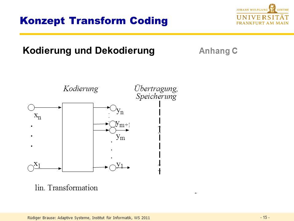 Rüdiger Brause: Adaptive Systeme, Institut für Informatik, WS 2011 - 14 - Transform coding – Wozu.