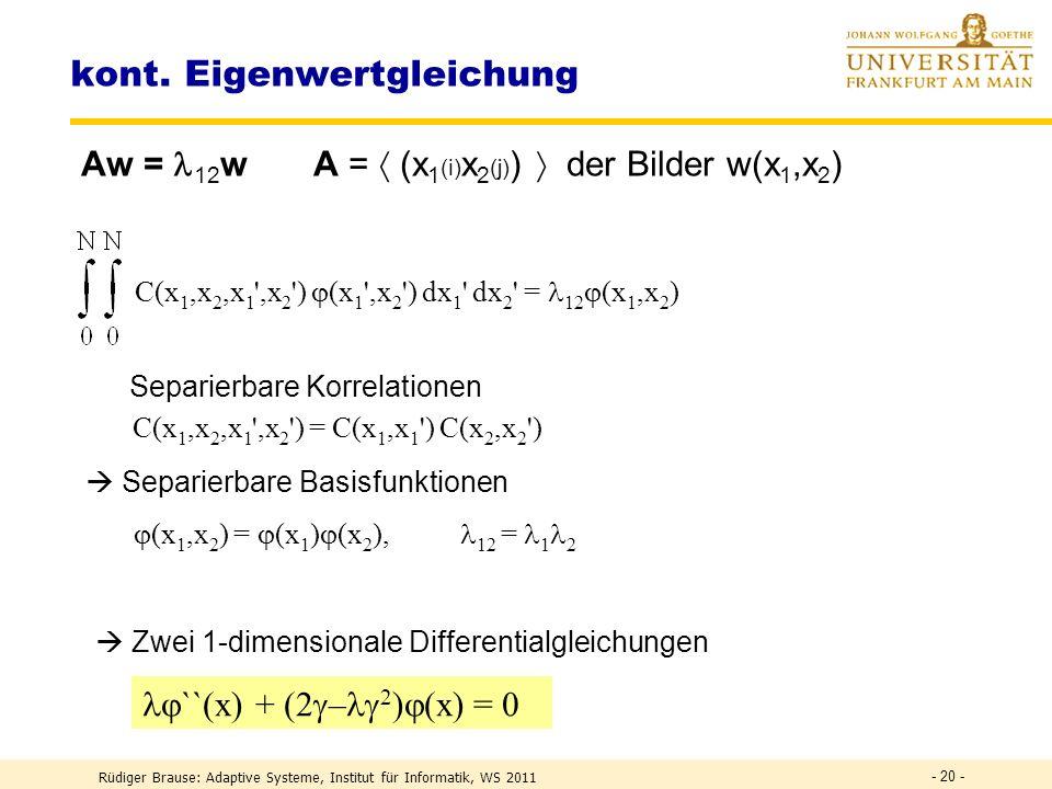 Rüdiger Brause: Adaptive Systeme, Institut für Informatik, WS 2011 - 19 - Eigenvektoren und Eigenfunktionen Komponentenindex i Komponente 1 2 3 4 5 6 78 w 1 w 2 w 3 w 4 w 5 w 6 w 7 w 8 Basisfunktion (i) w i = w(i) = (i) Min.