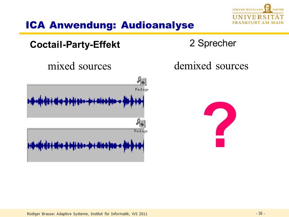 Rüdiger Brause: Adaptive Systeme, Institut für Informatik, WS 2011 - 35 - Einleitung Lineare Mischung unabhängiger Quellen Mikro 1 Mikro 2 Sprecher 1 Sprecher 2