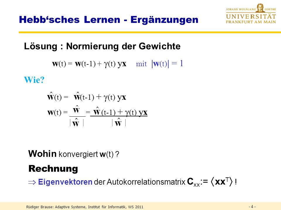 Rüdiger Brause: Adaptive Systeme, Institut für Informatik, WS 2011 PCA-Netze PCA-Transformation Transform Coding ICA-Transformation Weissen - 34 -