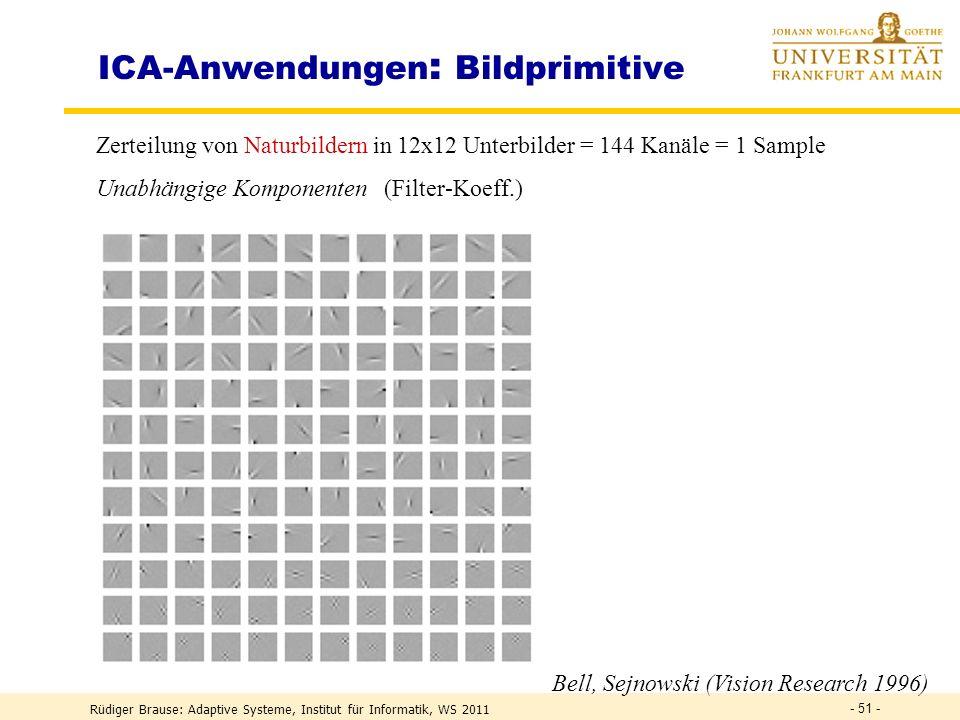 Rüdiger Brause: Adaptive Systeme, Institut für Informatik, WS 2011 - 50 - ICA – Algorithmen 2 Sequentielle Extraktion aller Komponenten Gegeben: Trainingsmenge {v(0)} Fixpunktalgorithmus w 1 (t+1) = (w 1 T v) 3 v – 3 w 1 mit |w 1 | = 1 Konvergenz zum 1.