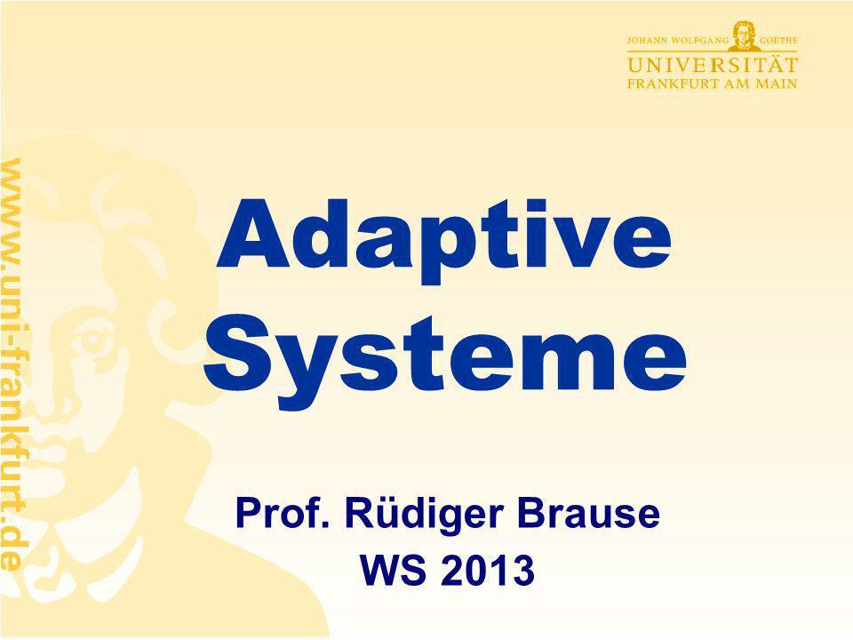 Rüdiger Brause: Adaptive Systeme, Institut für Informatik - 11 - Das Vorbild: Gehirnfunktionen Unterteilung des Gehirns in funktionale Bereiche Gehirn = 2-dim Tuch