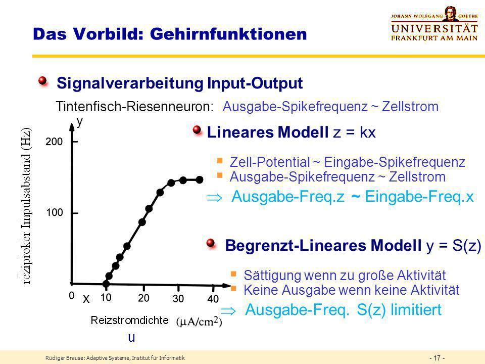 Rüdiger Brause: Adaptive Systeme, Institut für Informatik - 16 - Das Vorbild: Gehirnfunktionen Signalverarbeitung Input Ruhe- potential Eingabe Zellkern Frequenzmodulierung Dekodierung Einheitsladungen Zell-Potential ~ Eingabe-Spikefrequenz