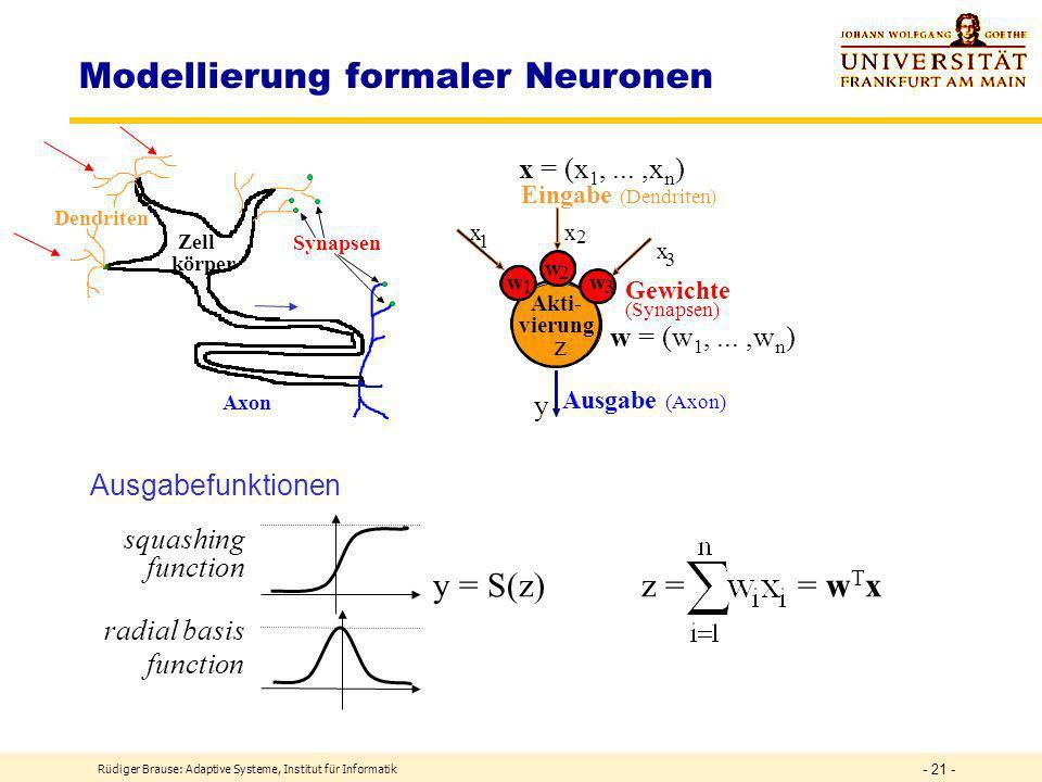 Rüdiger Brause: Adaptive Systeme, Institut für Informatik - 20 - Modellierung Informatik: Granularität Paralleler Aktivität Grob: Computer, Jobs (Lastverteilung) wenig Komm.