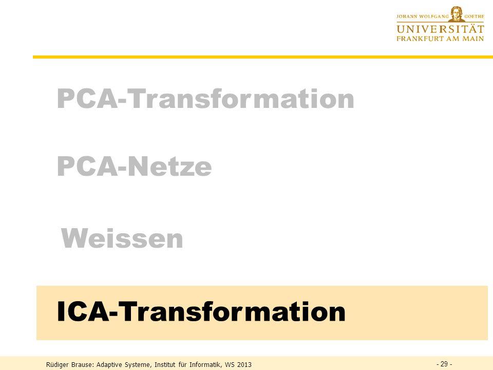 Rüdiger Brause: Adaptive Systeme, Institut für Informatik, WS 2013 - 28 - Ausblick: lineare und nichtlineare PCA Lineare Hauptachsentransformation Dynamische Hauptachsentransformation e 2 b 1 b 2 e 1 e 2 b 1 b 2 e 1 e 1 e 1 e 2 e 2