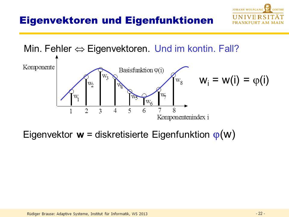 Rüdiger Brause: Adaptive Systeme, Institut für Informatik, WS 2013 - 21 - Eigenschaften natürlicher Bilder Fehler beim Vernachlässigen höh. Komponente