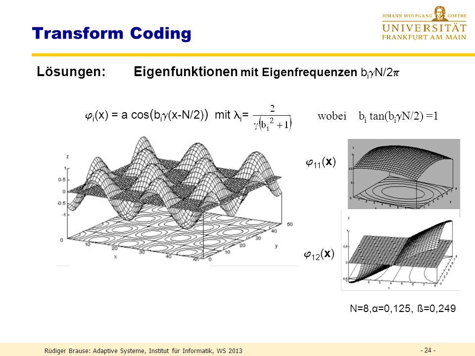 Rüdiger Brause: Adaptive Systeme, Institut für Informatik, WS 2013 - 23 - kont. Eigenwertgleichung Aw = 12 w A = (x 1 (i) x 2 (j) ) der Bilder w(x 1,x
