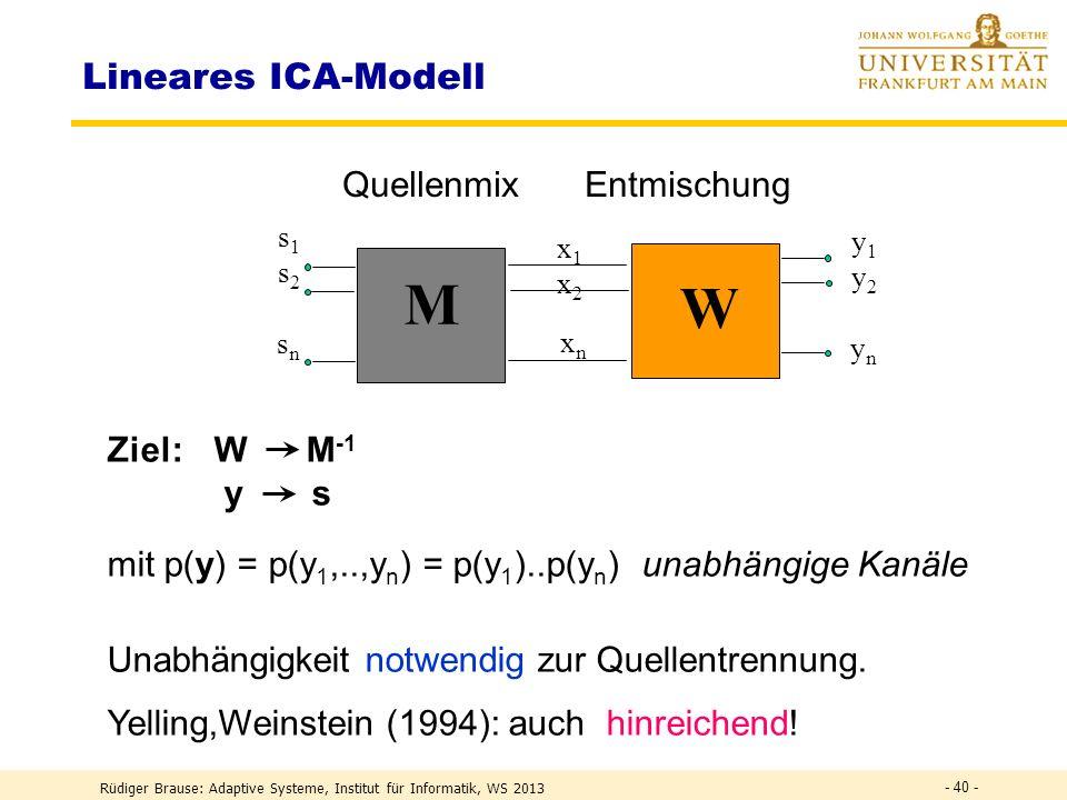 Rüdiger Brause: Adaptive Systeme, Institut für Informatik, WS 2013 - 39 - ICA Anwendung: Audioanalyse 2 Sprecher mixed sources demixed sources Coctail