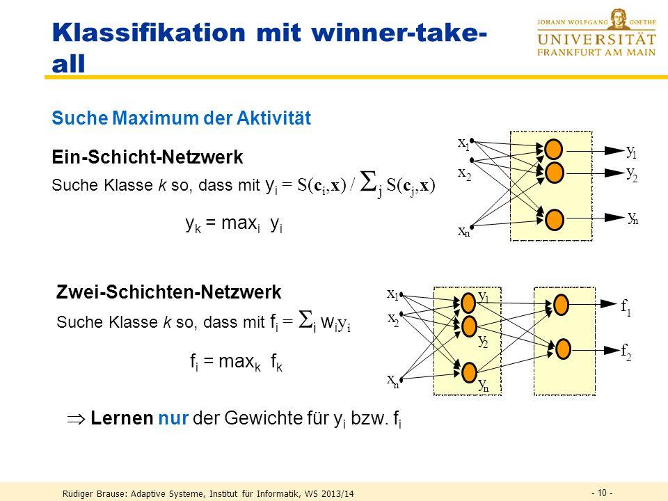 Rüdiger Brause: Adaptive Systeme, Institut für Informatik, WS 2013/14 - 9 - Klassifikation mit RBF-Netzen Beste Klassifizierung Suche Klasse i so, daß