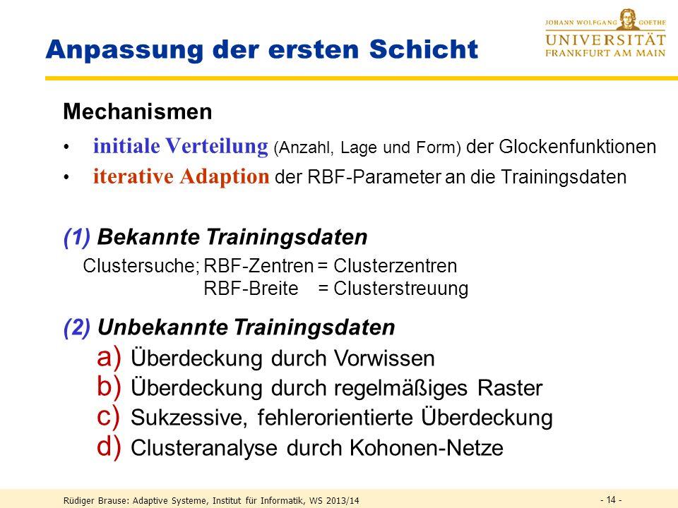 Rüdiger Brause: Adaptive Systeme, Institut für Informatik, WS 2013/14 - 13 - Lernverfahren Ansätze Schichtweise Einzelanpassung Anpassen der ersten Sc