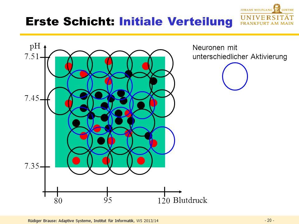 Rüdiger Brause: Adaptive Systeme, Institut für Informatik, WS 2013/14 - 19 - Erste Schicht: Initiale Verteilung Blutdruck pH 7.45 7.35 120 80 95 7.51