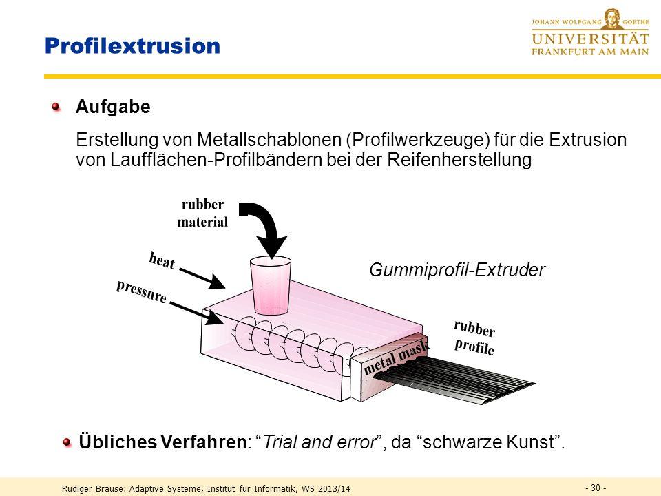 Rüdiger Brause: Adaptive Systeme, Institut für Informatik, WS 2013/14 - 29 - Lernen in RBF-Netzen Approximation & Klassifikation mit RBF Anwendung RBF