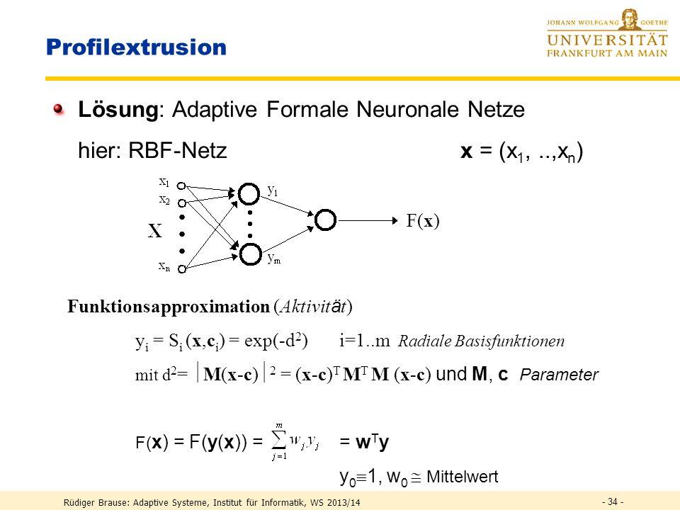 Rüdiger Brause: Adaptive Systeme, Institut für Informatik, WS 2013/14 Lösung: Adaptive Parameterschätzung Parameter = Quellfaktoren entlang des Masken