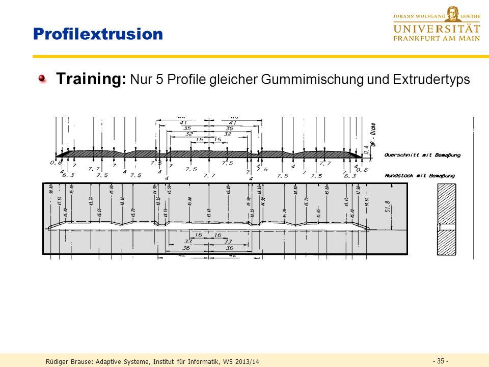 Rüdiger Brause: Adaptive Systeme, Institut für Informatik, WS 2013/14 Profilextrusion Lösung: Adaptive Formale Neuronale Netze hier: RBF-Netzx = (x 1,