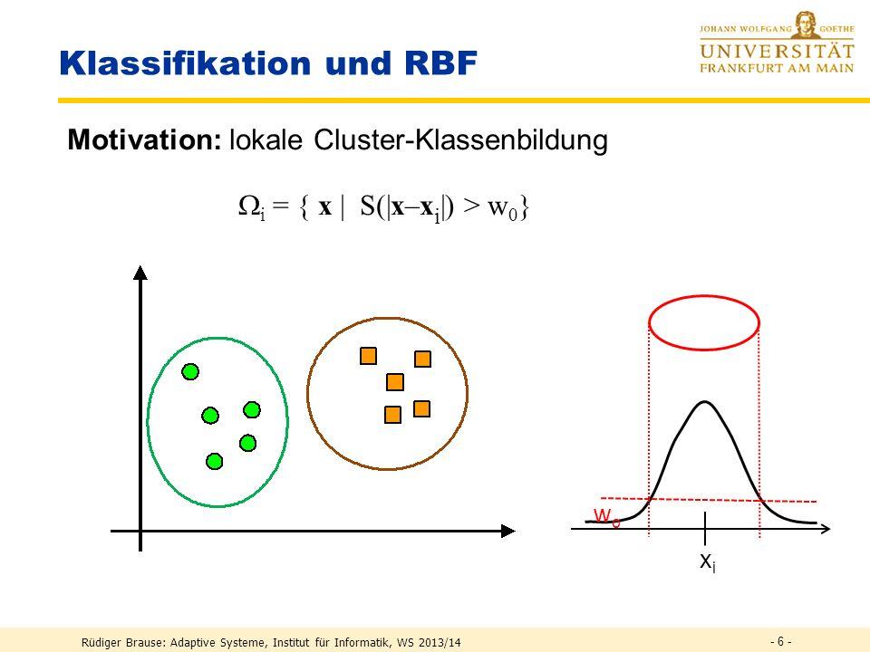 Rüdiger Brause: Adaptive Systeme, Institut für Informatik, WS 2013/14 - 5 - Multilayer-Klassifikation Separierung von Klassen 1.Neuron 2.Neuron 3.Neur