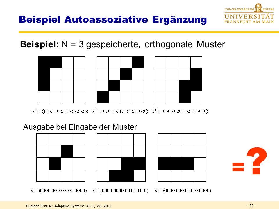 Heteroassoziativer Speicher Inhalt L (Lehrervorgabe) Schlüssel = x Assoziation (Adresse) y = L Autoassoziativer Speicher Inhalt L = x Schlüssel = x Assoziation y = x Speicherarten Rüdiger Brause: Adaptive Systeme AS-1, WS 2011 - 10 - W W