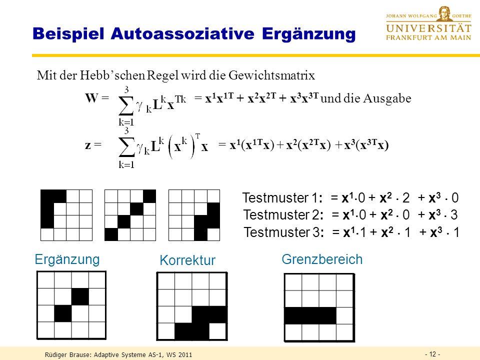 Rüdiger Brause: Adaptive Systeme AS-1, WS 2011 - 11 - Beispiel Autoassoziative Ergänzung Beispiel: N = 3 gespeicherte, orthogonale Muster Ausgabe bei Eingabe der Muster =?=?
