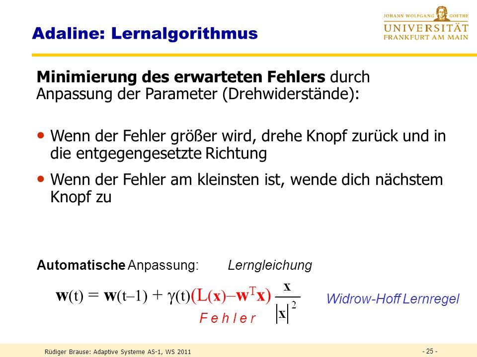 Rüdiger Brause: Adaptive Systeme AS-1, WS 2011 - 24 - Fehleranzeige Adaline: Aktivität Schalterfeld für Eingabemuster Regler Summierer Schwellwert- regler w 0 Quantisierer S(z) Lehrer-Schalter für gewünschte Ausgabe Ausgabe y