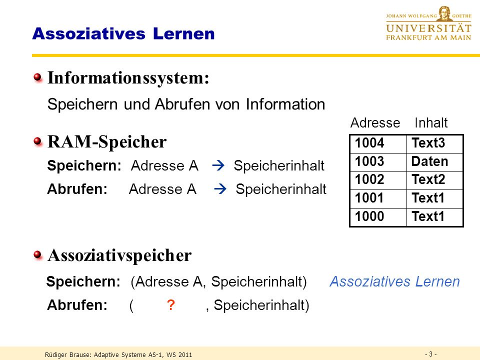 Rüdiger Brause: Adaptive Systeme AS-1, WS 2011 Lernen in Multilayer-Netzen Assoziatives Lernen Lernen linearer Klassifikation Anwendungen - 2 -