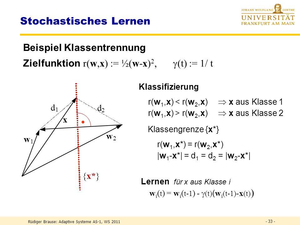Rüdiger Brause: Adaptive Systeme AS-1, WS 2011 - 32 - Stochastisches Lernen Lernen mit Zielfunktion R(w) = r(w,x) x w(t) = w(t-1) - (t) w R ( w(t-1) ) wird ersetzt durch Lernen mit stochast.