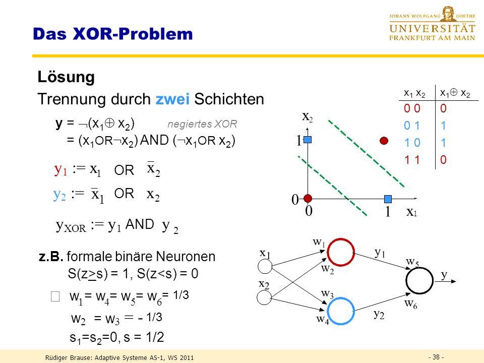 Rüdiger Brause: Adaptive Systeme AS-1, WS 2011 - 37 - Das XOR-Problem Aufgabe Trennung zweier Klassen durch eine Gerade – wie .