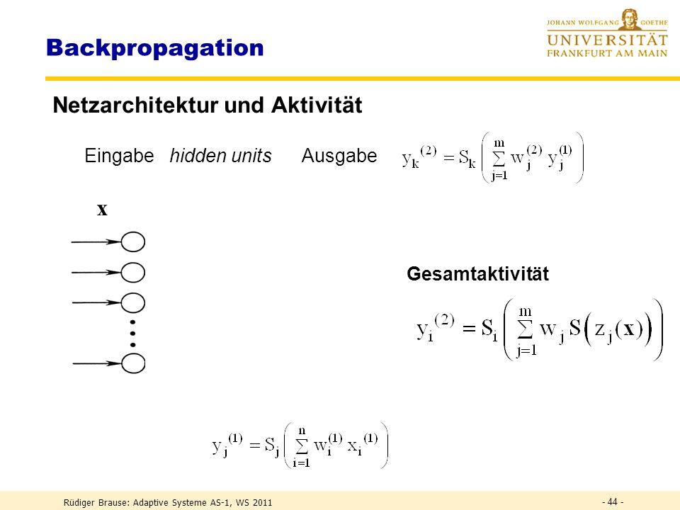 Rüdiger Brause: Adaptive Systeme AS-1, WS 2011 - 43 - Lernen von Klassifikation Wenn Daten unbekannt: Sequentielle Netzerstellung Vorschlag 1 ohne Training Ordne Muster x(t) ein.