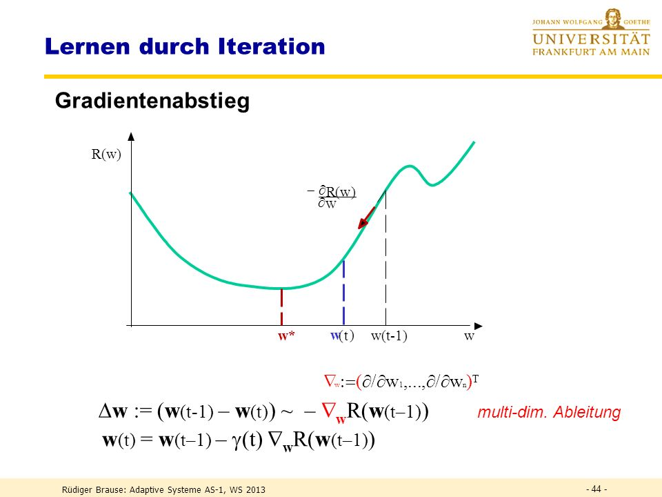 GRADIENTENABSTIEG Rüdiger Brause: Adaptive Systeme AS-1, WS 2013 - 43 -