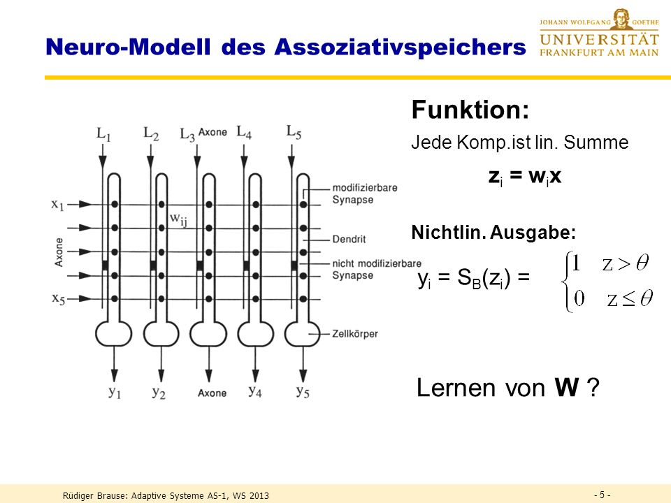 ADALINE Rüdiger Brause: Adaptive Systeme AS-1, WS 2013 - 35 -